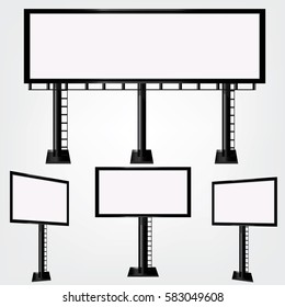 Set blank big billboard. Mockup for your advertisement and design.