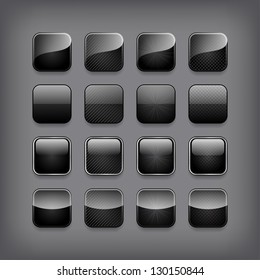 Set of blank black buttons for you design or app.