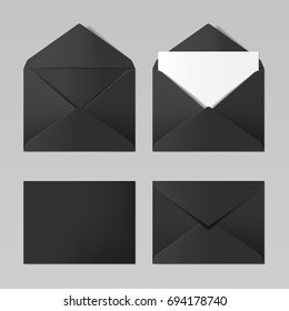 Set of blank black color realistic envelopes mockup