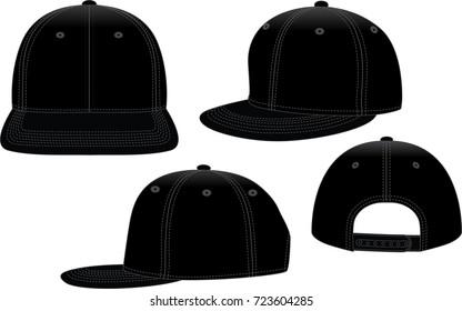 Set Blank Black Hip Hop Cap With Adjustable Snap Back Strap Vector For Template.