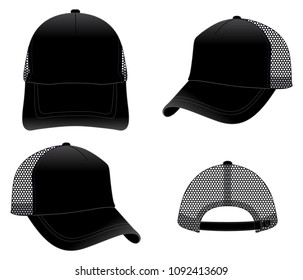 Set Blank Black Mesh Trucker Cap With Plastic Buckle Slide Strap Vector