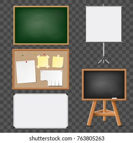Set of blank blackboard, flipchart, corkboard for education and presentations. Isolated on transparent background. Stock vector illustration.