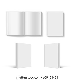Set of blank book cover template. Isolated on white background. Stock vector illustration.