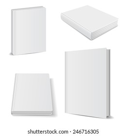 Set of blank books front view cover white. vector illustrations
