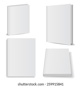 Set of blank books front view cover white. isolated oh white background ,vector illustrations, manual ebook concept