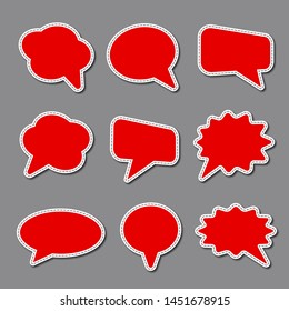 set of blank bubble advertising stickers, text with dash line vector, colorful badges