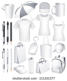 Set of  blank business corporate identity templates, gifts, packaging and souvenirs. Promotional. Vector.