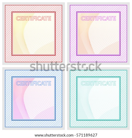Set Blank Certificate Participation Vector Illustration Stock Vector