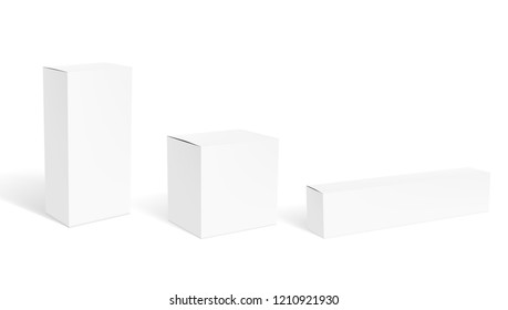 Set Of Blank Clear White Packaging Boxes For Cosmetic Or Medical Product. EPS10 Vector