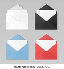 Set of blank color realistic envelopes mockup: white, black, blue, red
