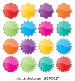 set of blank colorful paper seals. stickers for website. vector.