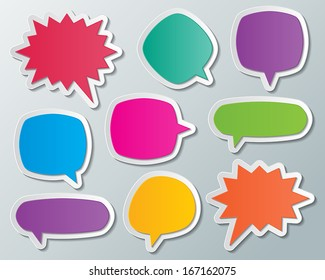 set of blank colorful paper speech bubbles. infographic elements. vector.