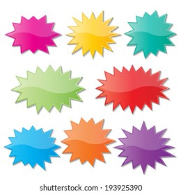 set of blank colorful paper starburst speech bubbles. vector.