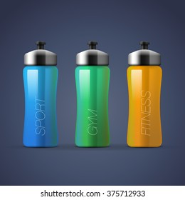 Set of blank colorful sports plastic bottles for water, vector illustration.