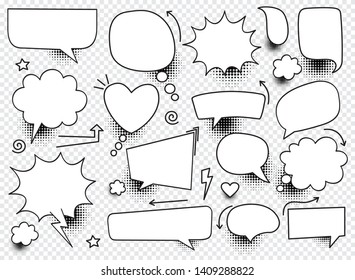 A set of blank comic bubbles and elements with halftone shadows