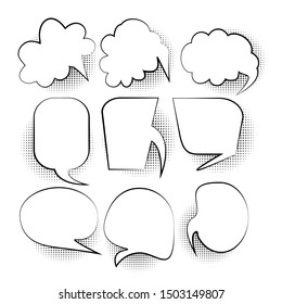 Set of blank comic bubbles and elements with halftone dot shadows on white background. For text. Creative comics book conversation chat - vector design