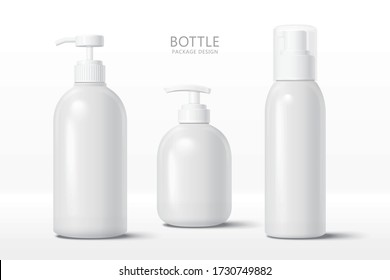 Set of blank cosmetic bottle mock-ups with pump cap, isolated on white background, 3d illustration