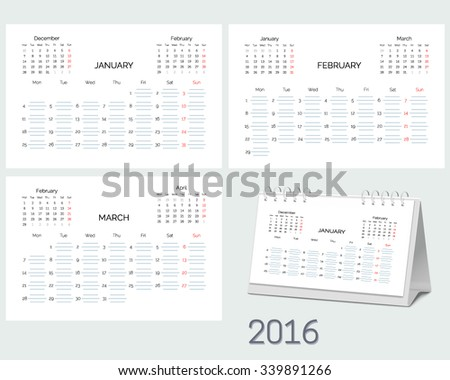 Set Blank Desktop Monthly Planning Calendar Royalty Free