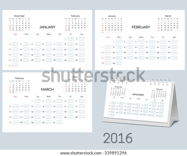 Set Blank Desktop Monthly Planning Calendar Stock Vector