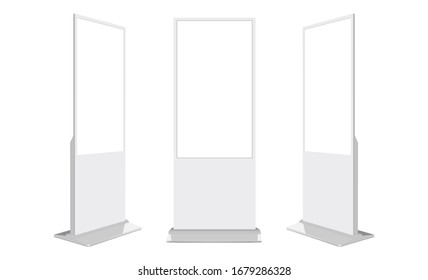 Set of blank digital signages isolated on white background. Vector illustration