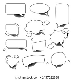 a set of blank elements with halftone shadows for your comic bubbles