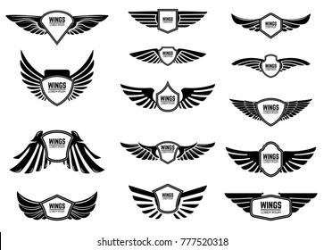 Set of blank emblems with wings. Design elements for emblem, sign, logo, label. Vector illustration