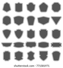 Set of blank empty dark shields. Shield badge shapes. Vintage frames for emblems, labels, insignia
