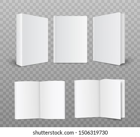 A set of blank and empty hardcover paper book templates. Template of opened and closed paper books with a front and side view. Realistic vector illustration on a transparent background.