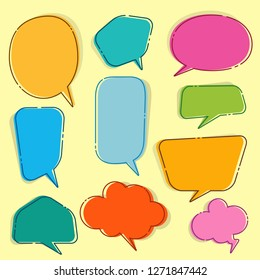 Set of blank empty white speech bubbles and dialog balloons on colorful  background