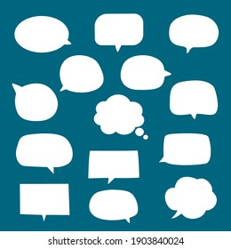 set of blank empty white speech bubbles with flat design, hand drawn sticker for chat symbol, label, tag or dialog word