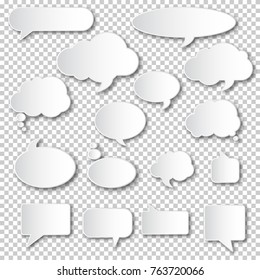 Set of blank empty white speech bubbles. Different design of comic bubble cloud collection.