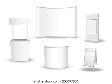 Set of blank exhibition stand vector