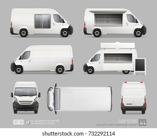 Set of Blank Food Truck Van vector template for Corporate Brand Identity MockUp . Realistic Delivery Fast food Van, Mini Bus isolated on grey background. Mobile cafe Van with street showcase, sign