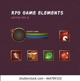 Set of blank frame for rpg game. Action bar with abilities. Game interface elements.