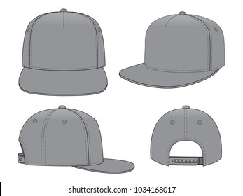 Set Blank Gray Hip Hop Cap Template Vector On White Background and Adjustable Snap Back Closure Strap.