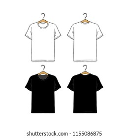 Set of blank hanging t-shirt design template hand drawn vector illustration. Front and back sides. White and black male shirt on white background.