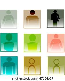 A set of blank identity avatars