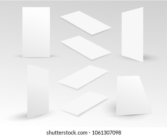 Set of blank isometric app screen mockups with realistic shadows. Template to showcase your apps and UI projects. Screen design for mobile app. Vector illustration. Isolated on white background