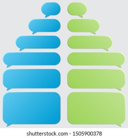 Set of blank message speech bubbles on a gray background