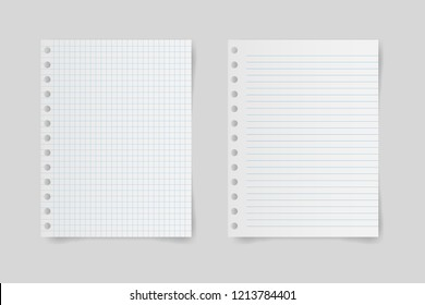 Set of blank note paper with space for text on gray background. Vector illustration