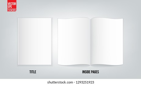 Set of blank open book and title cover template. Isolated on transparent background. Stock vector illustration. - Vector