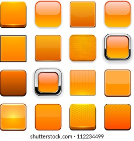 Set of blank orange buttons for website or app. Vector eps10.
