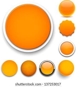 Set of blank orange round buttons for website or app. Vector eps10.
