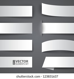 Set of blank paper banners with shadows on gray background. RGB EPS 10 vector illustration
