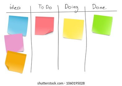 Set of blank paper notes on kanban board. Vector illustration. EPS10.