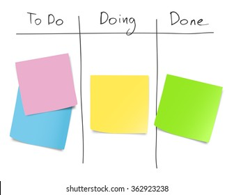Set of blank paper notes on kanban whiteboard. Vector illustration