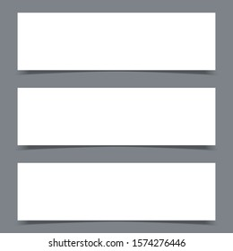 Set of blank paper sheet with vertical banner and shadow, design element for advertising and promotional . Vector illustration white box sticker. Label header page