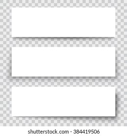 Set of blank paper sheet with vertical banner and shadow, design element for advertising and promotional isolated on transparent background. Vector illustration white box sticker. Label header page