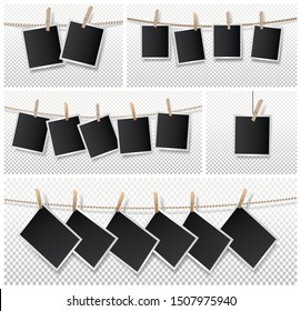 Set of blank photo frame set hanging on rope. Realistic detailed photo icon design template. Vector illustration isolated on transparent background.