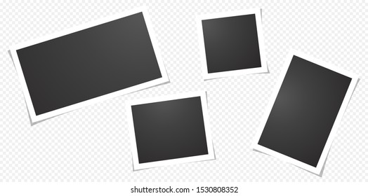 Set of blank photo frames, isolated on transparent background.